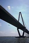 Arthur Ravenel Jr Bridge over Cooper River Charleston SC with Coast Guard Dolphin Helicopter