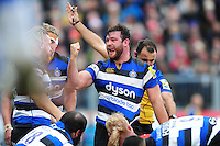 Nathan Catt of Bath Rugby celebrates as referee Greg Garner awards his team a penalty after a strong scrum. Aviva Premiership match, between Bath Rugby and Saracens on December 3, 2016 at the Recreation Ground in Bath, England. Photo by: Patrick Khachfe / Onside Images