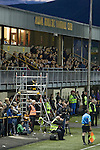 Alloa Athletic football supporters in the main stand watching their team at Recreation Park during the Co-operative Insurance Cup second round match with visitors Aberdeen. Scottish League second division Alloa lost the match by three goals to nil against their Premier League rivals in a match watched by 1649 spectators.