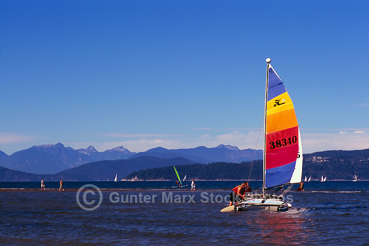 "Vancouver, BC, British Columbia, Canada - Sailing and Windsurfing at Jericho Beach,  English Bay and ""North Shore"" Mountains (Coast Mountains)"