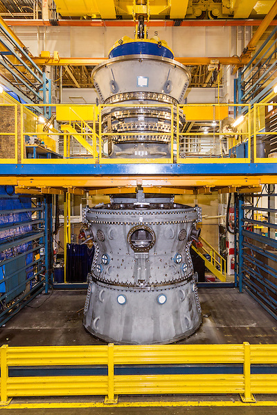 July 6, 2016. Greenville, South Carolina. <br />  Standing more than 2 stories tall, the massive GE gas turbines can take nearly a year from ordering to manufacture, assemble, test and ship to the client.<br />  At the General Electric Gas Turbine factory, engineers  design, produce, test and repair gas turbines for generating electricity. These turbines weigh more than 900,000 pounds and can create internal combustion temperatures up to 2,900 degrees F. Depending on the model, one of the GE turbines can produce enough electricity for half a million American households.
