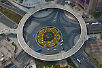 The Lujiazui Traffic Circle, with an elevated pedestrian promenade, Shanghai, China