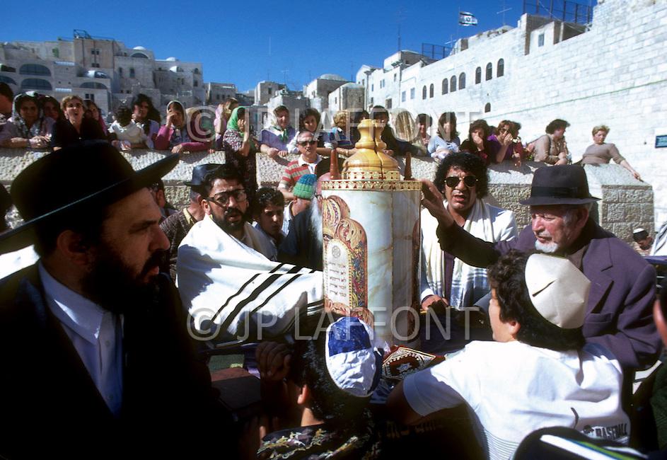 Jerusalem, Israel, November, 1980. Bar Mitzvah ceremony.