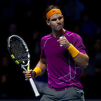 Rafael Nadal (ESP) (1) against Novak Djokovic (SRB) (3) in a Group A match. Rafael Nadal beat Novak Djokovic 7-5 6-2..International Tennis - Barclays ATP World Tour Finals - O2 Arena - London - Day 3 - Tue 23 Nov 2010..© Frey - AMN Images, Level 1, Barry House, 20-22 Worple Road, London, SW19 4DH.Tel - +44 208 947 0100.Email - Mfrey@advantagemedianet.com.Web - www.amnimages.photshelter.com