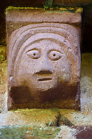 Norman Romanesque exterior corbel  sculpture from the Norman Romanesque Church of St Mary and St David, Kilpeck Herefordshire, England. Built around 1140