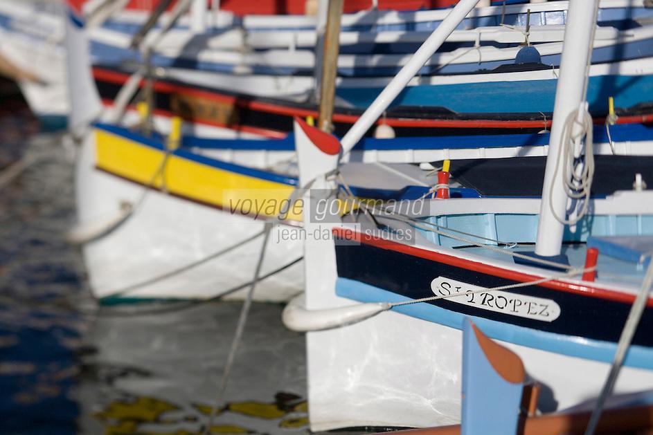 Europe/Provence-Alpes-Côte d'Azur/83/Var/Saint-Tropez: Détail des pointus, bateaux traditionnels des pêcheurs sur le port