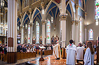 April 30, 2017; Bishop Kevin Rhoades celebrates Confirmation Mass at the Basilica of the Sacred Heart. (Photo by Matt Cashore/University of Notre Dame)