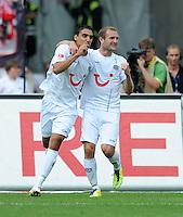 FUSSBALL   1. BUNDESLIGA  SAISON 2011/2012   2. Spieltag 1 FC Nuernberg - Hannover 96          13.08.2011 Jubel nach den Tor zum 0:1 mit Mohamed Abdellaoue, Konstantin Rausch (v. li., Hannover 96)