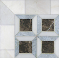 Lauren, a stone mosaic, shown in Heavenly Cream, Emperador Dark, and Celeste, is part of the Ann Sacks Beau Monde collection sold exclusively at www.annsacks.com