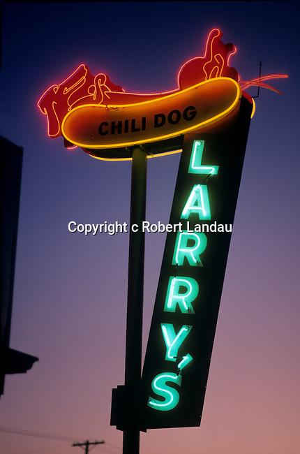 Larry's Chili Dog neon sign, Burbank, CA, 1998