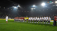 Starting Eleven of Germany and USA line up for the National Anthems. US Women's National Team vs Germany at Impuls Arena in Augsburg, Germany on October 27, 2009.