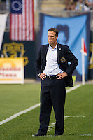 Philadelphia Union interim manager John Hackworth. DC United defeated Philadelphia Union 1-0 during a Major League Soccer (MLS) match at PPL Park in Chester, PA, on June 16, 2012.