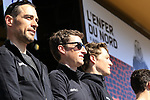 Manuel Quinziato (ITA) and Martin Elmiger (SUI) BMC Racing Team at the Team Presentation for the upcoming 115th edition of the Paris-Roubaix 2017 race held in Compiegne, France. 8th April 2017.<br /> Picture: Eoin Clarke | Cyclefile<br /> <br /> <br /> All photos usage must carry mandatory copyright credit (&copy; Cyclefile | Eoin Clarke)