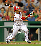 15 August 2008: Washington Nationals' second baseman Emilio Bonifacio in action against the Colorado Rockies at Nationals Park in Washington, DC.  The Rockies edged out the Nationals 4-3, handing the last place Nationals their 8th consecutive loss. ..Mandatory Photo Credit: Ed Wolfstein Photo