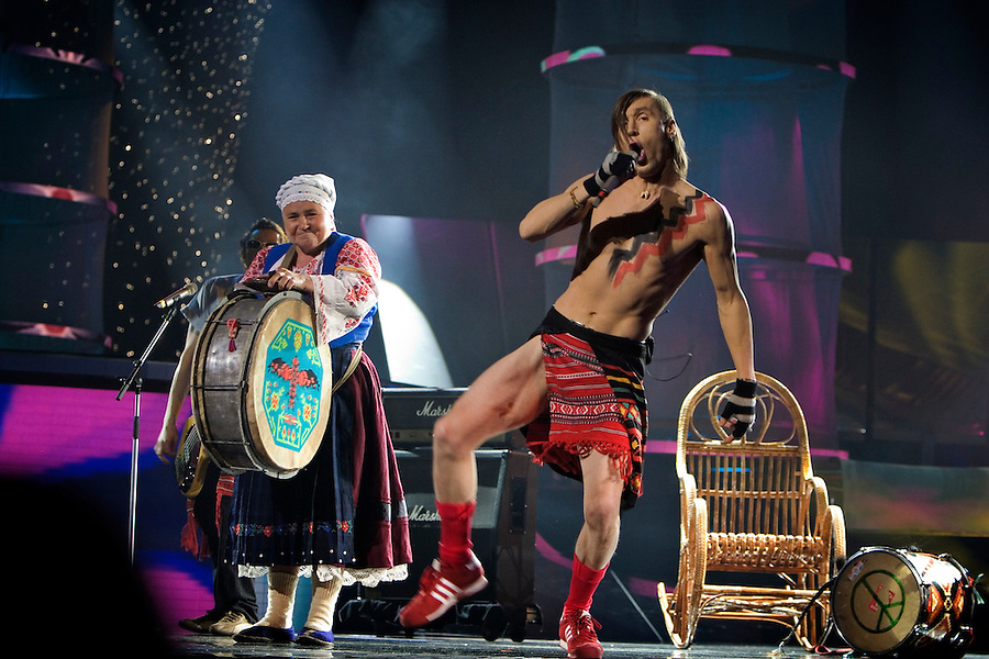 """Kiev, Ukraine, 20/05/2005..The fiftieth Eurovision Song Contest..Moldovan contestants Zdob shi Zdub perform their entry """"Grandma Beats The Drum"""", which featured a drum-beating pensioner."""