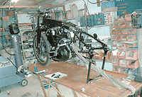 BNPS.co.uk (01202 558833)<br /> Pic: Charterhouse/BNPS<br /> <br /> An exceptionally rare Vincent motorbike that was dismantled into thousands of pieces and put into boxes is to be sold after a pensioner painstakingly pieced it back together. <br /> <br /> This 1949 Black Shaw model, considered the first ever superbike, was deconstructed by its former owner so it could be rebuilt to factory specifications. <br /> <br /> However, due to financial problems the project stalled, which provided Geoffrey Hearn the opportunity to take on the remarkable restoration. <br /> <br /> Upon purchasing the bike for &pound;25,000 nine years ago Geoffrey, 85, had to transport the machine to his home in March, Cambs, inside five cardboard boxes.