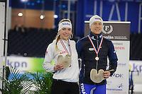 SCHAATSEN: HEERENVEEN: 03-02-2017, KPN NK Junioren, Podium Junioren A, 500m, Joy Beune, Joost van Dobbenburgh, ©foto Martin de Jong