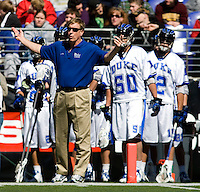 Duke head coach John Danowski works the sidelines during the Face-Off Classic in at M&T Stadium in Baltimore, MD