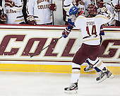 Zack Kamrass (UML - 27), Brooks Dyroff (BC - 14) - The Boston College Eagles defeated the visiting University of Massachusetts Lowell River Hawks 6-3 on Sunday, October 28, 2012, at Kelley Rink in Conte Forum in Chestnut Hill, Massachusetts.