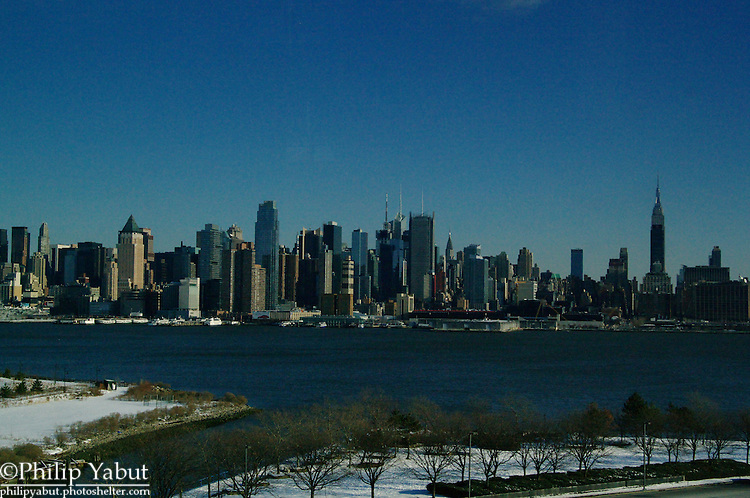 New York's Manhattan skyline, from the Weehawken Helix loop that accesses the Lincoln Tunnel.