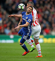 Chelsea's Pedro battles with Stoke City's Jonathan Walters<br /> <br /> Photographer Mick Walker/CameraSport<br /> <br /> The Premier League - Stoke City v Chelsea - Saturday 18th March 2017 - bet365 Stadium - Stoke<br /> <br /> World Copyright &copy; 2017 CameraSport. All rights reserved. 43 Linden Ave. Countesthorpe. Leicester. England. LE8 5PG - Tel: +44 (0) 116 277 4147 - admin@camerasport.com - www.camerasport.com