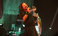 KORN performing at an exclusive live event presented by SiriusXM Radio at The Theatre At The Ace Hotel in Downtown Los Angeles, CA USA to celebrate the release of their new album The Serenity Of Suffering on October 21, 2016.  Photo © Kevin Estrada / Media Punch