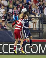 FC Dallas midfielder Brek Shea (20) and New England Revolution midfielder Chris Tierney (8) battle for head ball. In a Major League Soccer (MLS) match, the New England Revolution defeated FC Dallas, 2-0, at Gillette Stadium on September 10, 2011.