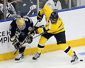 Jeff Costello (Notre Dame - 11), Fraser Allen (Merrimack - 2) - The University of Notre Dame Fighting Irish defeated the Merrimack College Warriors 4-3 in overtime in their NCAA Northeast Regional Semi-Final on Saturday, March 26, 2011, at Verizon Wireless Arena in Manchester, New Hampshire.