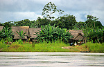 South America; Peru; Amazon River village.