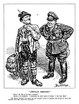 """""""Awfully Arrayed."""" """"What's the idea of the fancy costume?"""" """"Merely to be prepared. I committed my chief crime in Austria: I was born there."""" [The Moscow Conference has agree that war criminals, so far as possible must be sent for trial to the countries where their crimes were committed.]"""