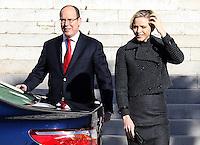 Prince Albert II and Princess Charlene of Monaco at Sainte Devote Mass - Monaco