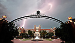 Lightning strikes over the Westcott Building and Ruby Diamond Auditorium on the Florida State University campus in Tallahassee, Florida.