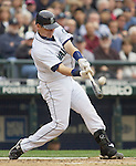 Seattle Mariners Rob Johnson bats against the Oakland Athletics in the opening home game of the season  at SAFECO Field in Seattle April 12, 2010. The Athletics beat the Mariners 4-0. Jim Bryant Photo. &copy;2010. ALL RIGHTS RESERVED.