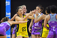 Te Amo Amaru-Tibble and Leana de Bruin compete for the ball during the ANZ Premiership netball match between the Central Pulse and Northern Stars at TSB Bank Arena in Wellington, New Zealand on Monday, 8 May 2017. Photo: Dave Lintott / lintottphoto.co.nz