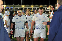 Leinster players leave the field dejected after the match. European Rugby Champions Cup match, between Bath Rugby and Leinster Rugby on November 21, 2015 at the Recreation Ground in Bath, England. Photo by: Patrick Khachfe / Onside Images