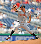 8 June 2008: San Francisco Giants' pitcher Barry Zito in action against the Washington Nationals at Nationals Park in Washington, DC. The Giants rallied to defeat the Nationals 6-3 in their third consecutive win of the 4-game series...Mandatory Photo Credit: Ed Wolfstein Photo