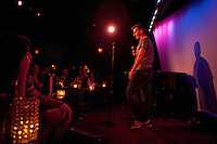 Anthropologist and amateur comedian Robert Lynch performing standup routine at The Metropolitan Room in Manhattan, New York on July 21, 2012.
