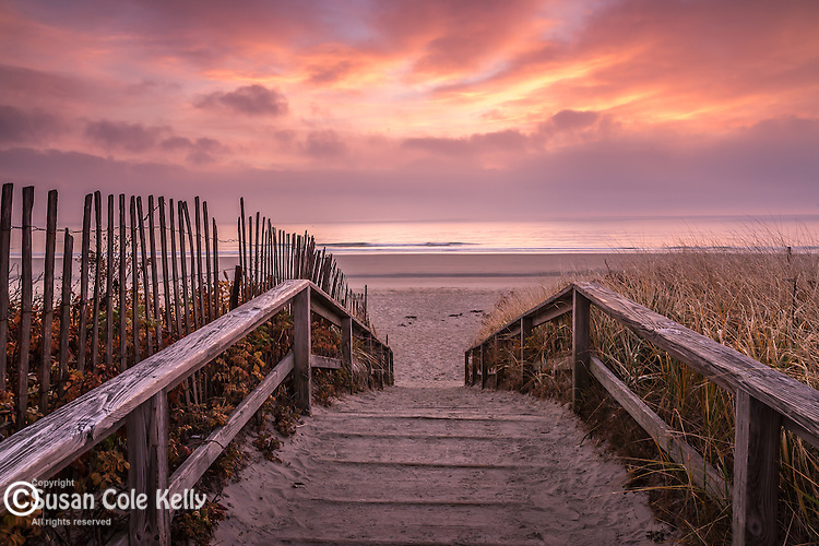 Sunrise on Footbridge Beach in Ogunquit, Maine, USA
