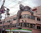 A huge model gorilla holding a small model of a girl in its hand, hangs over the side of a building in Sangenjaya, Tokyo, Japan, October, 2007.