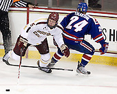 Michael Matheson (BC - 5), Michael Colantone (UML - 24) - The Boston College Eagles defeated the visiting University of Massachusetts Lowell River Hawks 6-3 on Sunday, October 28, 2012, at Kelley Rink in Conte Forum in Chestnut Hill, Massachusetts.