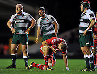 Mark Chisholm of Munster Rugby takes a breather during a break in play. European Rugby Champions Cup match, between Leicester Tigers and Munster Rugby on December 20, 2015 at Welford Road in Leicester, England. Photo by: Patrick Khachfe / JMP