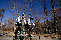 Discovery Channel Pro Cycling Team racers George Hincapie (right) and Ryder Hesjedal on a training ride. Long successful in the European classics, in addition to being Lance Armstrong's right hand man on the team, Hincapie took his first Tour de France stage win in 2005.<br />
