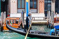 Italy, Venice. Gondola on Grand Canal.