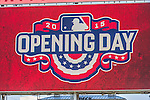6 April 2015: Opening Day graphics are displayed on the scoreboard prior to the Washington Nationals Season Opening Game against the New York Mets at Nationals Park in Washington, DC. The Mets rallied to defeat the Nationals 3-1 in their first meeting of the 2015 MLB season. Mandatory Credit: Ed Wolfstein Photo *** RAW (NEF) Image File Available ***