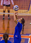 2 November 2014: Yeshiva University Maccabee Setter Aliza Muller, a Junior from Los Angeles, CA, in action against the Purchase College Panthers at SUNY Purchase College, in Purchase, NY. The Maccabees defeated the Panthers 3-1 in the NCAA Division III Women's Volleyball Skyline matchup. Muller ended her 2014 season with 40 Kills, 33 Digs and 18 Aces for the Lady Macs. Mandatory Credit: Ed Wolfstein Photo *** RAW (NEF) Image File Available ***