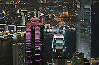 Hong Kong's Central and Tsim Sha Tsui districts lit up for the evening, seen from Victoria Peak. Even here, the top of the IFC2 tower is higher than the vantage point