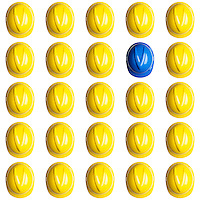 sblue helmet surrounded by various yellow hardhats