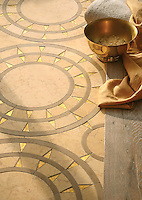 Mireille, a stone and glass waterjet mosaic, shown in honed Gold Glass, Lagos Gold, and Sylvia Gold.