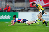 Christopher Levesley of Great Britain runs in a first half try. FISU World University Championship Rugby Sevens Men's Cup Final between Australia and Great Britain on July 9, 2016 at the Swansea University International Sports Village in Swansea, Wales. Photo by: Patrick Khachfe / Onside Images