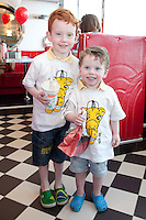 "NO REPRO FEE. 26/5/2011. NEW EDDIE ROCKET'S SHAKE SHOP. Eli 5 and Zane 3 Green are pictured in the new Eddie Rocket's Shake Shop. The design seeks to recall the vintage milkshake bars from 1950's America and re-imagine them for the 21st century. The new look aims to appeal to both young and old with a quirky and bold colour scheme and a concept of make-your-own milkshakes, based on the tag line ""You make it...We shake it!"". Eddie Rocket's City Diner in the Stillorgan Shopping Centre in south Dublin has re-opened after an exciting re-vamp and the addition of a Shake Shop. Ten new jobs have been created with the Diner's re-launch bringing the total working in Eddie Rocket's Stillorgan to 30. Picture James Horan/Collins Photos"